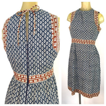 Batik Print Dress, Cute Boho Dress, Navy Blue Sleeveless Dress, Bohemian Vintage India Sundress, Front Pockets, Zip Back, Tie Closed Dress M