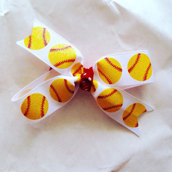 Softball hair bow-Softball double loop hair bow-Softball mom hair bow-Softball lover hair bow-Hair Clip-Hair Barrette