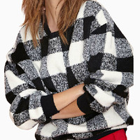 White Plaid Woolen Sweatshirt