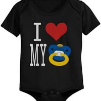 I Love Pacifier Black - Funny Graphic Statement Onesuit / Infant T-shirt