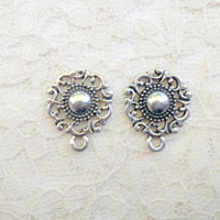 "7/16"" 00g 0g Organic Swirled Silver Filigree Dangle Plugs Made to Order"