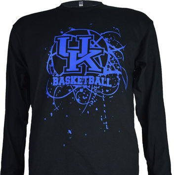 University of Kentucky UK SPLATTER BALL  on a Black Long Sleeve T Shirt
