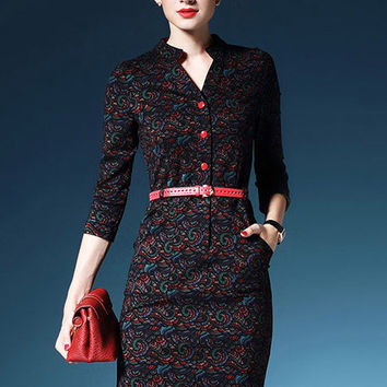 Paisley Print Belted Pencil Dress
