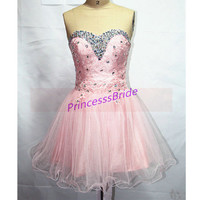 2014 short tulle homecoming dress in pink,cute sweetheart party gowns with rhinestones,latest cheap women dress for holiday prom hot.