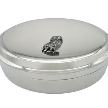 Owl of Athena Bird Pendant Oval Trinket Jewelry Box