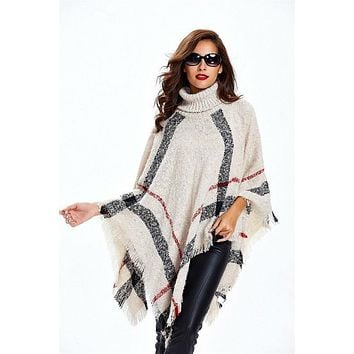 Mason City Plaid Fringe Poncho