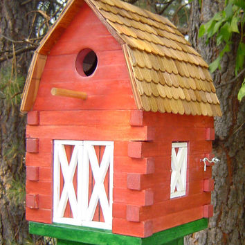 Beautiful Handmade Wooden Rustic Red Barn by ronisboutique on Zibbet