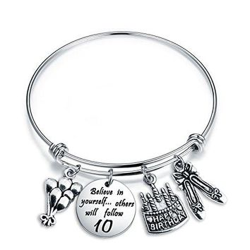 AUGUAU Birthday Gift for Her Adjustable Birthday Bracelet Bangle with Birthday Cake Charm,10th 12th Sweet 16th 18th 21st 30th 39th 40th 50th Bangle gift,Anniversary Gift
