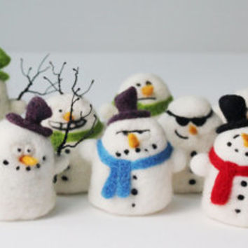 Snowman Tree Ornament  Needle Felt Christmas Plushie