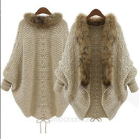Women Winter Fur Batwing Sleeve Cardigan Jacket Shawl Coat Outwear Parka = 1931776964