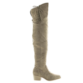 Merry53 Taupe Velvet By Wild Diva, Over Knee OTK Side Lace Slouchy Suede Riding Boots