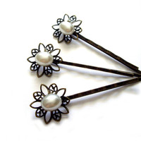 Wedding Hair pins white pearl pin antiqued brass by JPwithLove