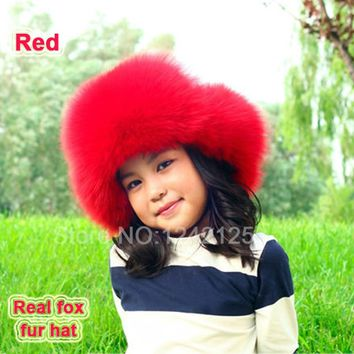 New Russia fur hat Winter Boy Girl women men Real Fox Fur Hat Parent-child Children kids Earmuff Warm pompom Ear fox fur Hat cap