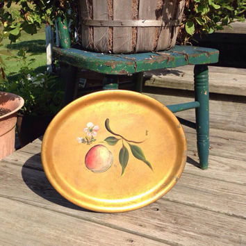 Vintage Gold Tole Tray Oval Shaped Metal with Painted Peach and Green Sprig and Peach Blossom