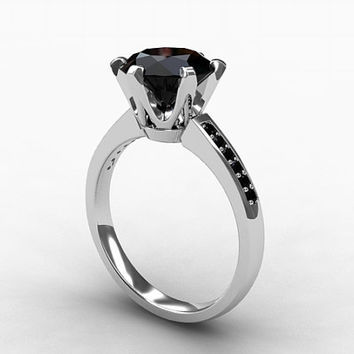 Black Spinel ring, engagement ring, spinel, black engagement, solitaire, black diamond ring, diamond engagement, thin, wedding ring
