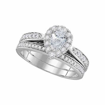 14kt White Gold Womens Pear Diamond Bridal Wedding Engagement Ring Band Set 1.00 Cttw