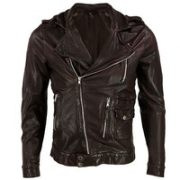 VIPARO | Brown Asymmetrical Zipper Slim Leather Biker Jacket - Marley