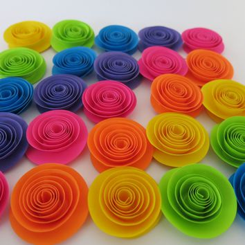 "Neon Rainbow Paper Flowers set of 24, 1.5"" roses, 80s theme birthday party decorations, Unicorn theme kid event, Black light fun, shower"