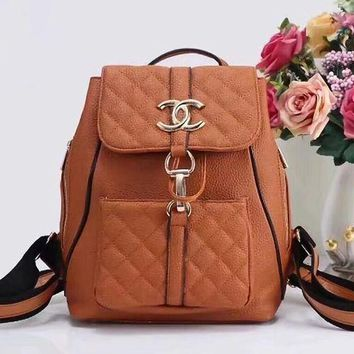 onetow One-nice? CHANEL Women Casual School Bag Cowhide Leather Backpack