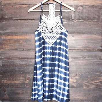 tie dye crochet bib sun dress - navy