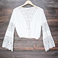 pleased to meet you bell sleeve peasant top - white