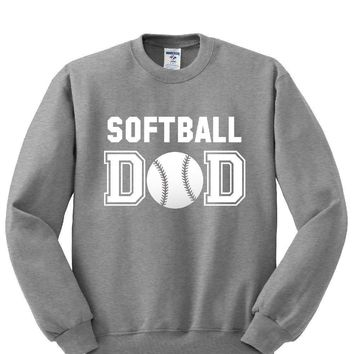 Softball DAD Crewneck Sweatshirt. Awesome Gift for Perfect DAD
