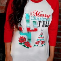 Merry Christmas Y'all- Christmas 3/4 length women's t-shirt