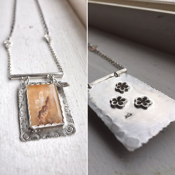 Agate Gemstone Necklace, Designer Pendant, Flower Necklace, Bohemian Jewelry, Graveyard Point Plume Agate Necklace, Gift for her