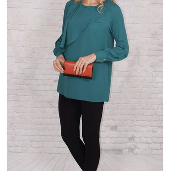 JOTHIRTY Ruffle Front Blouse with Balloon Sleeve in