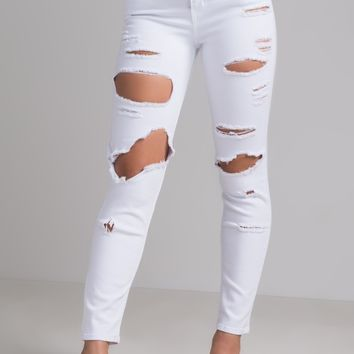 AKIRA High Rise Straight Fit Distressed Ripped Denim Boyfriend Jeans in Medium