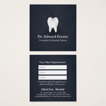 Professional Dental Care Dentist Appointment Blue Square Business Card