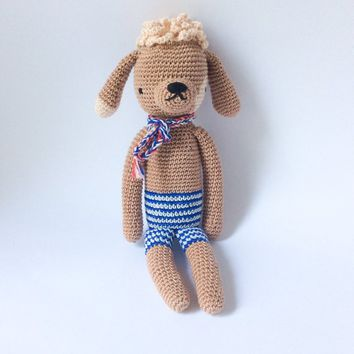 Soft baby toy Toddler Plushie toy Crochet dog Crochet animal Gift for son Gift for daughter Toy for sleep