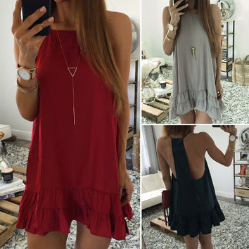 Women Sleeveless Summer Casual Beach Sundress Party Evening Cocktail Mini Dress