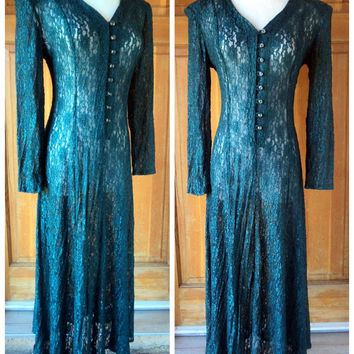 Vintage 80s Lace Dress Green Button Up Full Skirt Semi Sheer Boho Holiday Maxi Dress Corset back Tie up to 36 bust