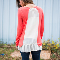 Rightly Ruffled Top, Coral/Ivory