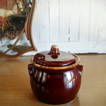Hull Brown Drip Ware Sugar Jar 60s, Vintage Hull Drip Ware Pottery