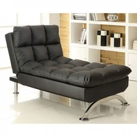 Aristo III Contemporary Style Design black Finish Leatherette Futon Chaise with Chrome Finish Support Legs