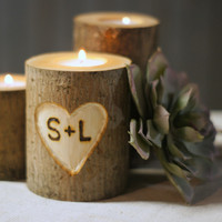 Personalized Candle Holder - Rustic Home Decor