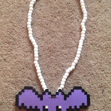 Cute Purple Kawaii Bat 3D Kandi Perler Necklace