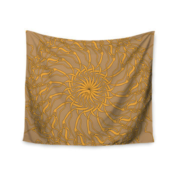 "Patternmuse ""Mandala Spin Latte"" Brown Yellow Wall Tapestry"