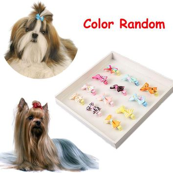 5PCS Color Random Dog Kitten Puppy Cute Pet Grooming Floral Solid Cotton Bow Flower Hairpins Butterfly Hair Clips Hair Barrette