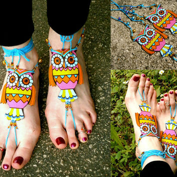 Owl Barefoot Sandals - Handmade Bohemian Cotton Fabric Jewelry - XL1 Model
