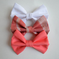 NEW. Bacon Sundae Hair Bow Collection. White & Coral.