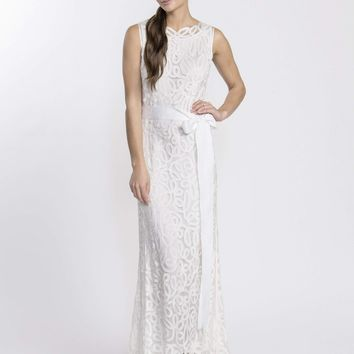 Soulmates - D1312 Crochet Sleeveless Long Dress Gown