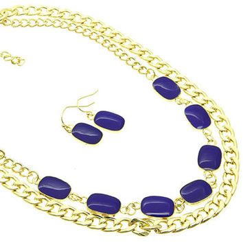 Gold & Cobalt Blue Statement Necklace
