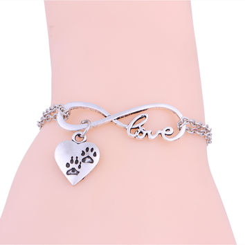 Dog Paw Print Antique Silver Link Chain Bracelet Infinity shape with a paw print charm.  FREE SHIPPING