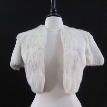Fur Bolero Vintage White Rabbit Fur Bolero Jacket Winter Wedding S