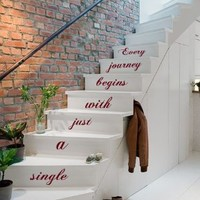 Wall Decals Vinyl Decal Sticker Children Kids Nursery Baby Room Interior Design Home Decor Staircase Stairway Stairs Words Phrase Life Family Quotes Every Journey Begins with Just a Single Step Kg744