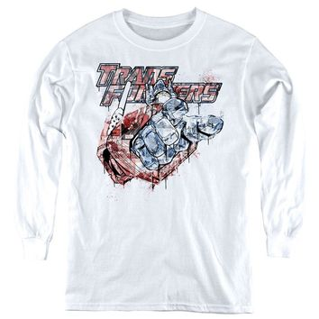 Transformers Kids Long Sleeve Shirt Spray Paint White Tee