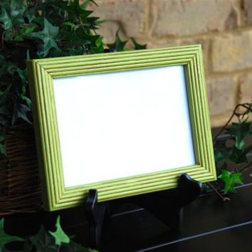 Colorful room decor: Vintage apple green 5x7 hand-painted wooden wall collage gallery picture frame
